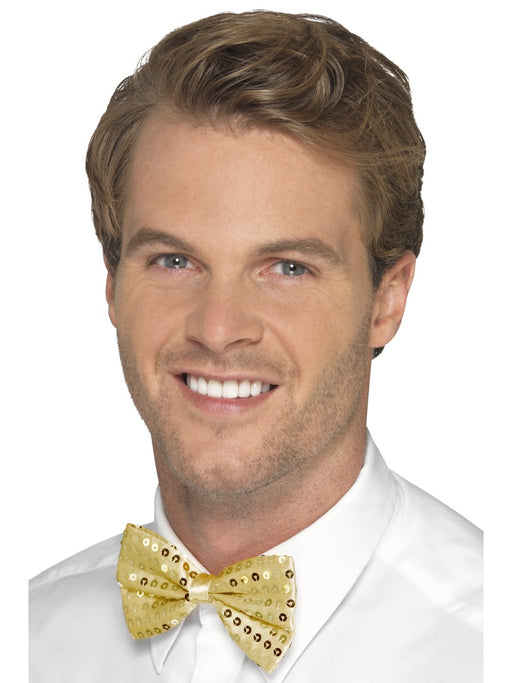 Sequin Bow Tie - Gold - The Ultimate Party Shop