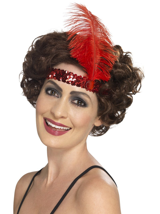 1920's Flapper Red Sequin Headband - The Ultimate Party Shop