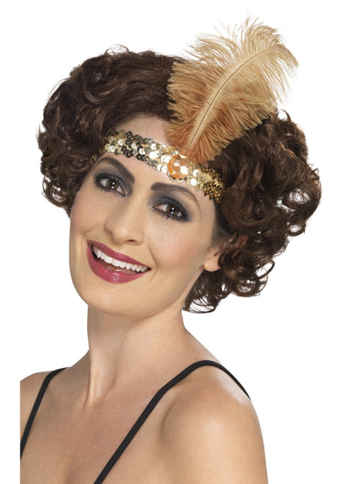 1920's Flapper Gold Sequin Headband - The Ultimate Party Shop