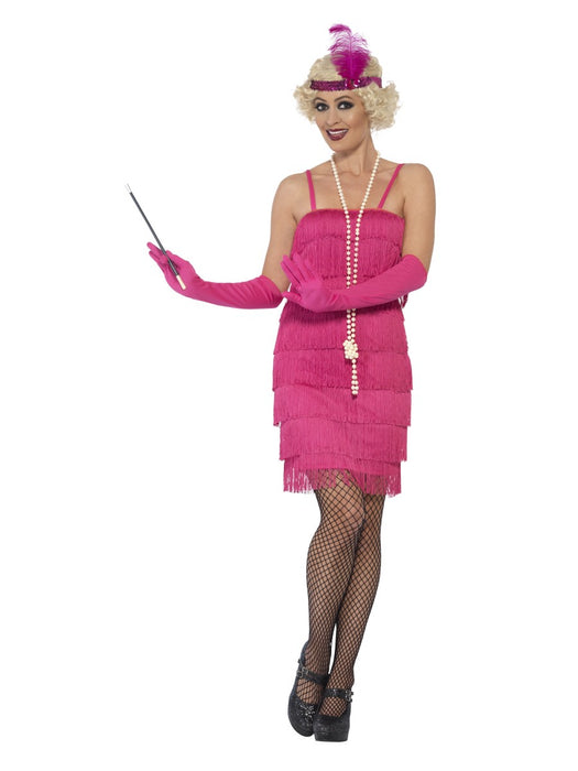 1920's Flapper Pink (Short) Costume - The Ultimate Party Shop
