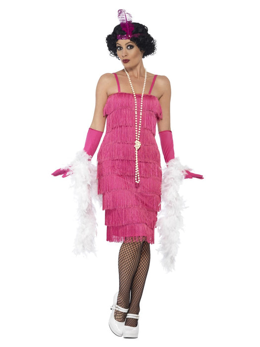 1920's Flapper Pink (Long) Costume - The Ultimate Party Shop
