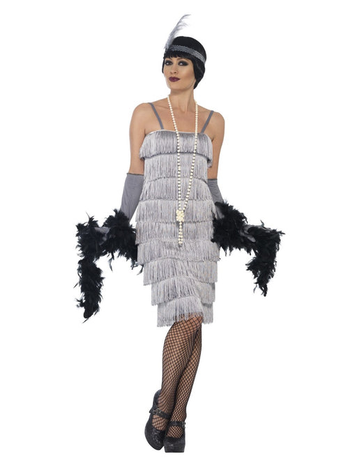 1920's Flapper Silver (Long) Costume - The Ultimate Balloon & Party Shop