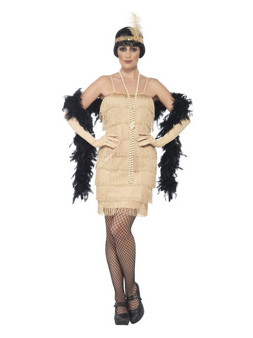 1920's Flapper Gold (Short) Costume - The Ultimate Party Shop