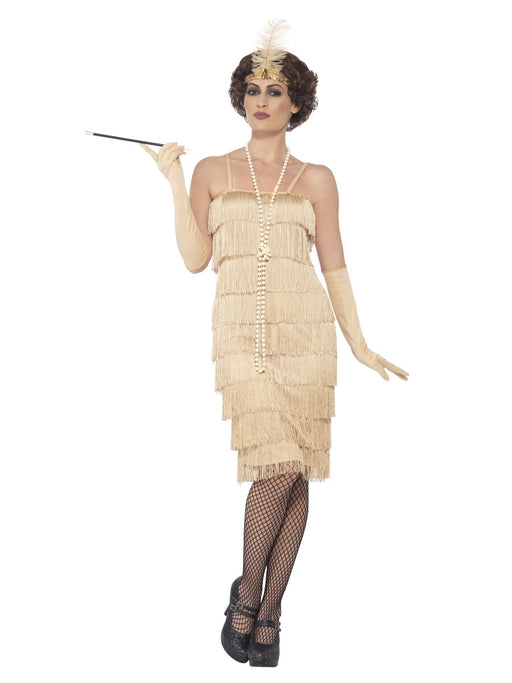 1920's Flapper Gold (Long) Costume - The Ultimate Party Shop
