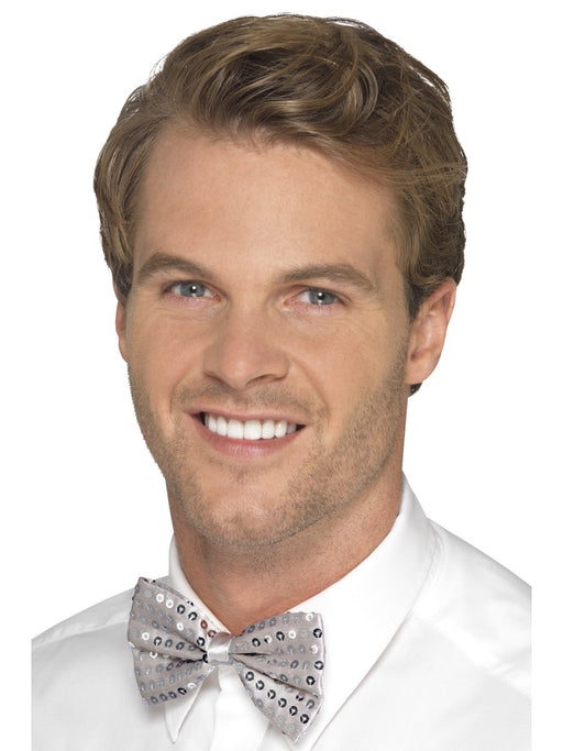 Sequin Bow Tie - Silver - The Ultimate Party Shop