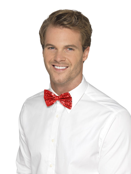 Sequin Bow Tie - Red - The Ultimate Party Shop
