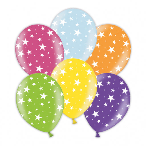 Star Printed Asst Colour Balloons 6 Pack
