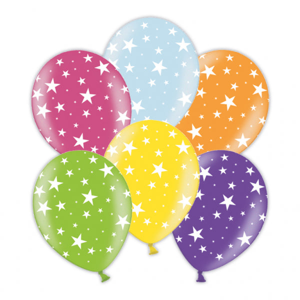 Star Printed Asst Colour Balloons 6 Pack - The Ultimate Party Shop