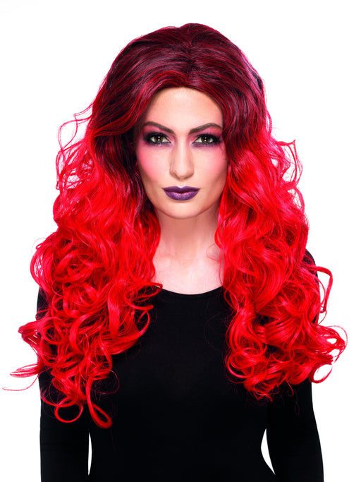 Dlx Devil Glamour Wig - Red - The Ultimate Party Shop