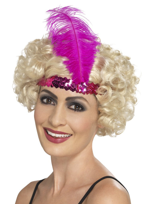 1920's Flapper Pink Sequin Headband