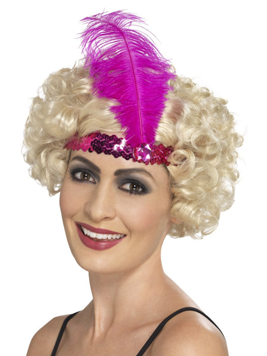 1920's Flapper Pink Sequin Headband - The Ultimate Balloon & Party Shop
