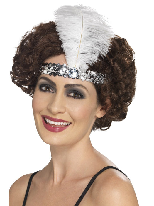 1920's Flapper Silver Sequin Headband - The Ultimate Balloon & Party Shop