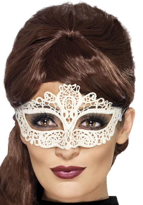 Embroidered Lace Filigree Eyemask - White - The Ultimate Party Shop