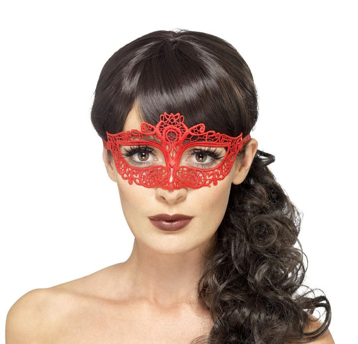 Embroidered Lace Filigree Eyemask - Red