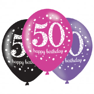 Age 50 Birthday Asst Colour Balloons 6 Pack - The Ultimate Party Shop
