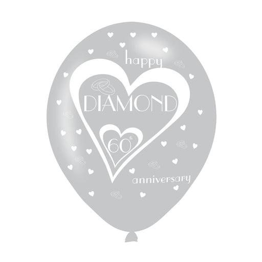 60th Wedding Anniversary Printed Balloons 6 Pack