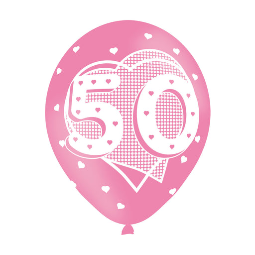 Age 50 Pink Birthday Balloons 6 Pack