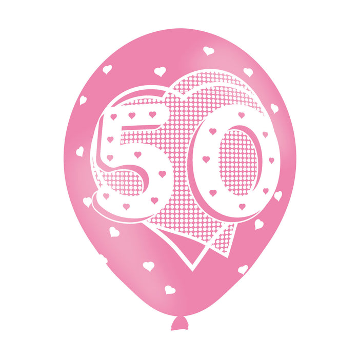 Age 50 Pink Birthday Balloons 6 Pack - The Ultimate Party Shop