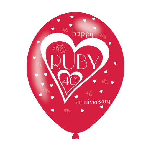 40th Wedding Anniversary Printed Balloons 6 Pack - The Ultimate Balloon & Party Shop