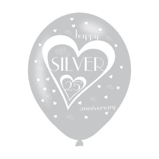 25th Wedding Anniversary Printed Balloons 6 Pack - The Ultimate Party Shop