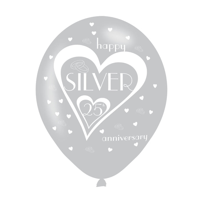 25th Wedding Anniversary Printed Balloons 6 Pack