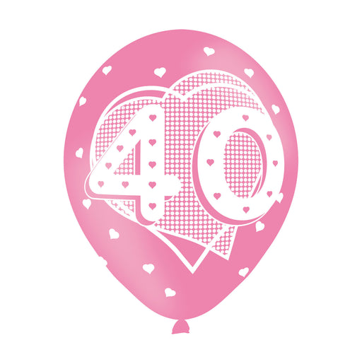 Age 40 Pink Birthday Balloons 6 Pack