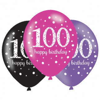 Age 100 Birthday Asst Colour Balloons 6 Pack - The Ultimate Party Shop