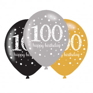Age 100 Birthday Asst Colour Balloons 6 Pack