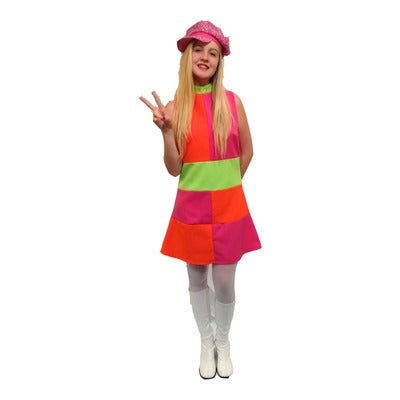 1960s/1970s Checkered Dress Hire Costume - Neon Pink, Green & Orange