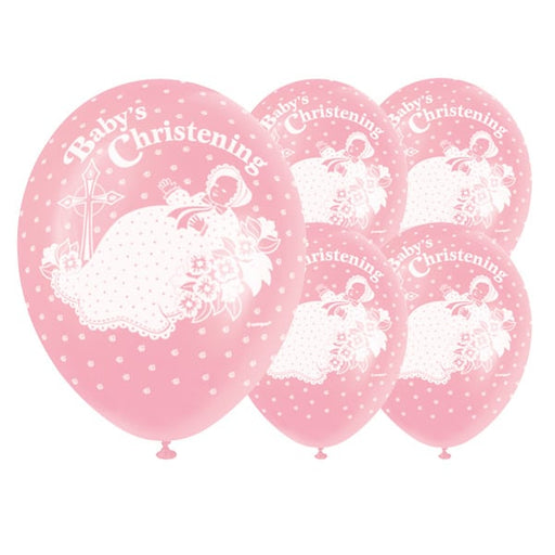 Baby's Christening Pink Balloons 5 Pack