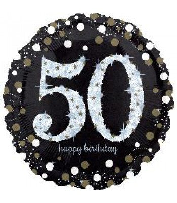 "18"" Foil Age 50 Black/Gold Dots Balloon - The Ultimate Party Shop"