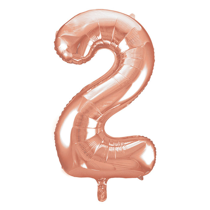 Number 2 Foil Balloon Rose Gold - The Ultimate Party Shop