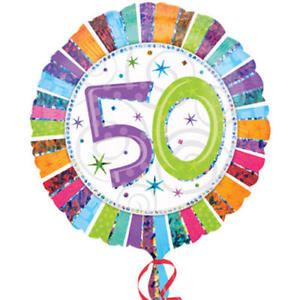 "18"" Foil Age 50 Rainbow Balloon - The Ultimate Party Shop"