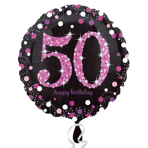 "18"" Foil Age 50 Black/Pink Dots Balloon - The Ultimate Party Shop"