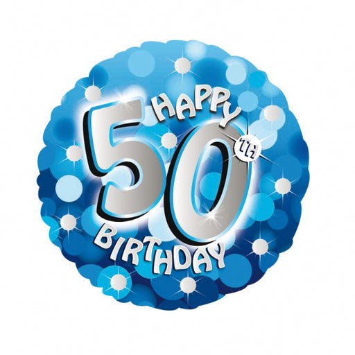 "18"" Foil Age 50 Blue Sparkle Balloon. - The Ultimate Party Shop"