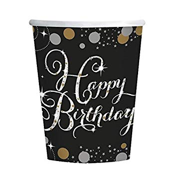 Happy Birthday Cups - Black & Gold - The Ultimate Balloon & Party Shop