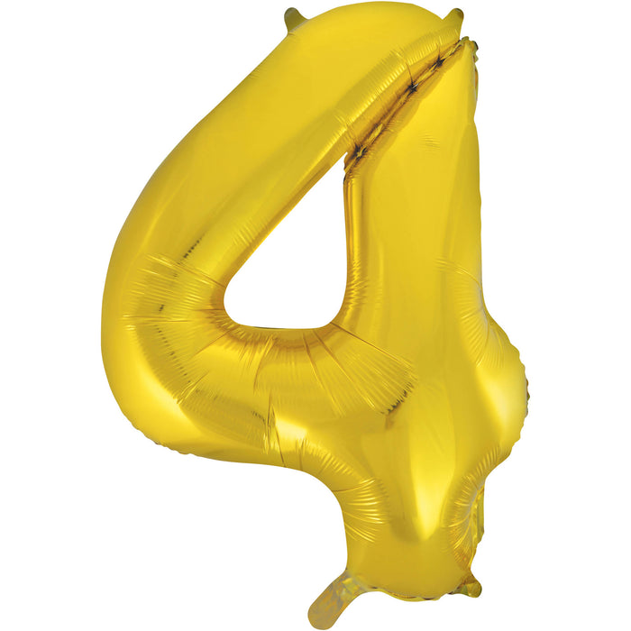 Number 4 Foil Balloon Gold - The Ultimate Party Shop