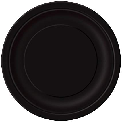 Round Paper Plates - Black - The Ultimate Party Shop