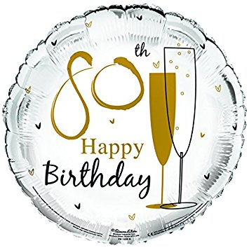 "18"" Foil Age 80 White Champagne Balloon - The Ultimate Party Shop"
