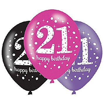 Age 21 Birthday Asst Colour Balloons 6 Pack