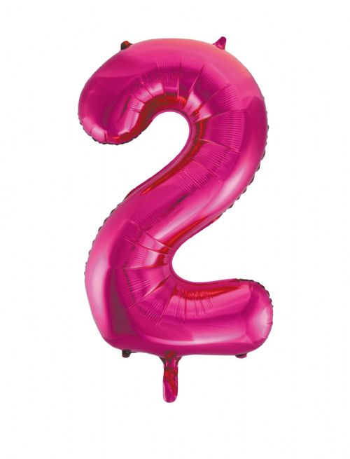 Number 2 Foil Balloon Hot Pink