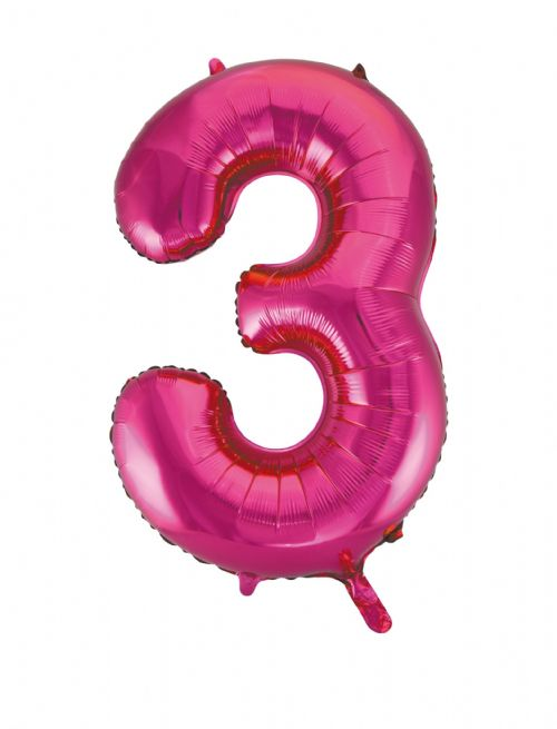 Number 3 Foil Balloon Hot Pink - The Ultimate Party Shop