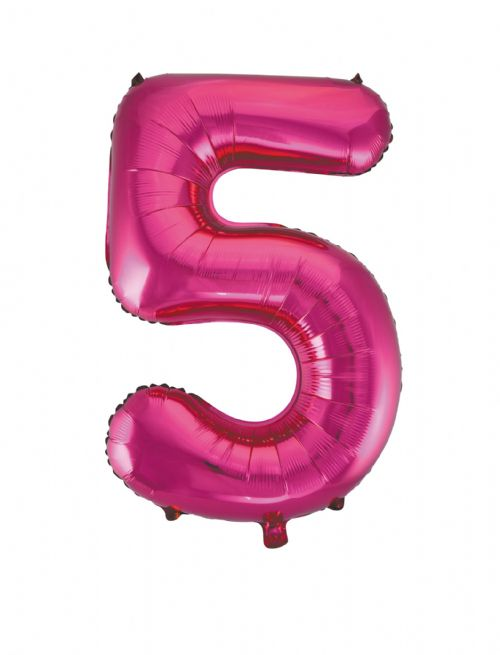 Number 5 Foil Balloon Hot Pink