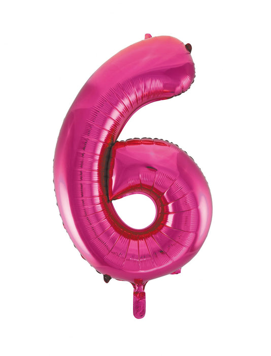 Number 6 Foil Balloon Hot Pink - The Ultimate Balloon & Party Shop