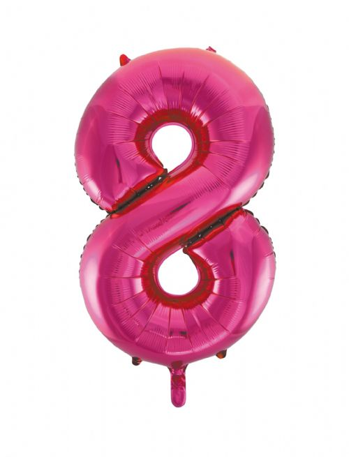 Number 8 Foil Balloon Hot Pink