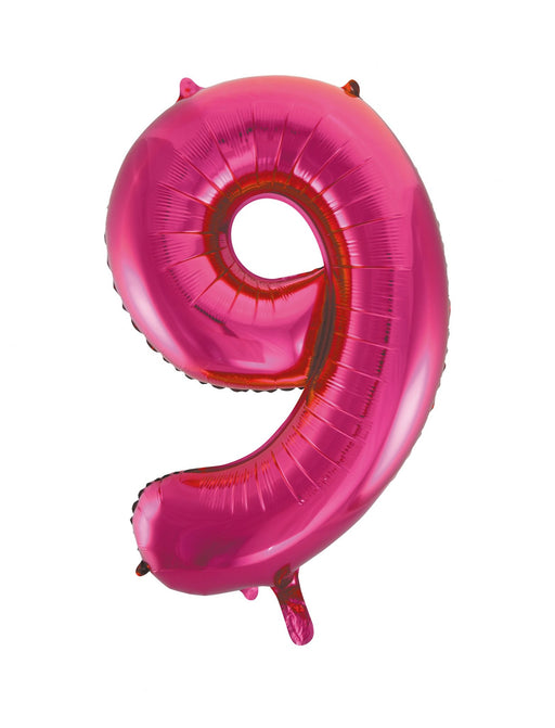 Number 9 Foil Balloon Hot Pink