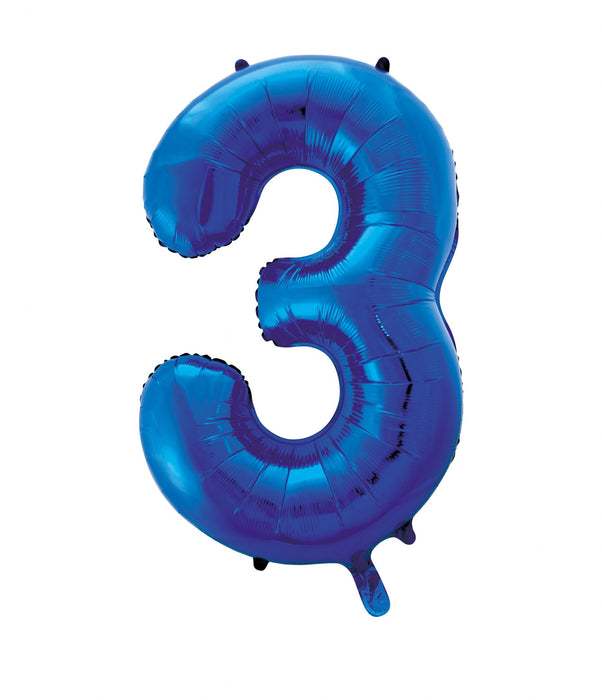 Number 3 Foil Balloon Blue - The Ultimate Party Shop