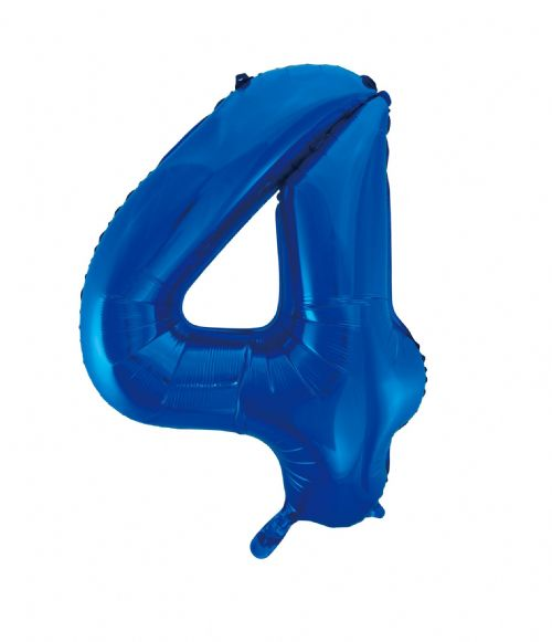 Number 4 Foil Balloon Blue