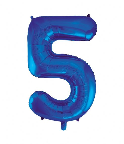 Number 5 Foil Balloon Blue
