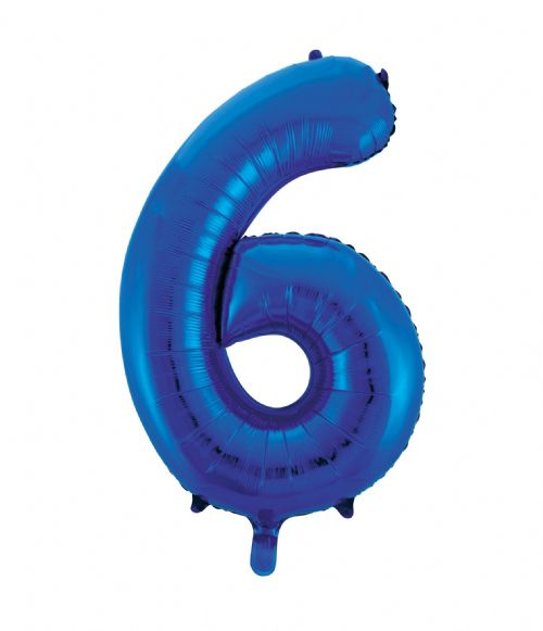 Number 6 Foil Balloon Blue - The Ultimate Party Shop